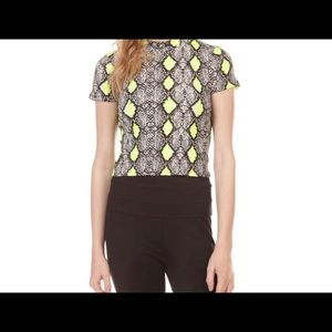 Neon Snake Print Cropped Tee